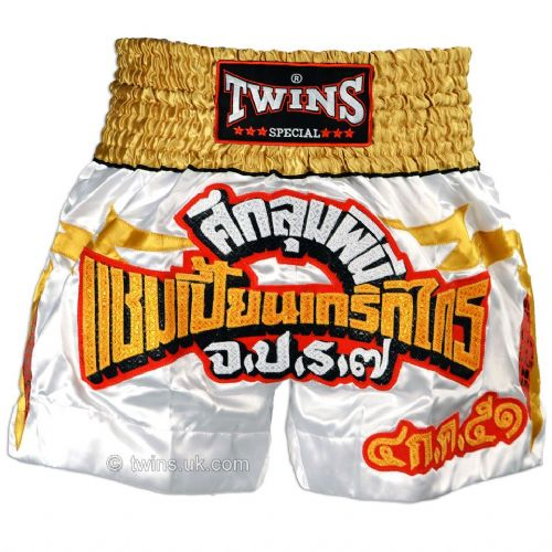 Twins TWS-907 White/Gold/Red Muay Thai Shorts